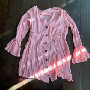 Pink button up Dress with sleeve accents